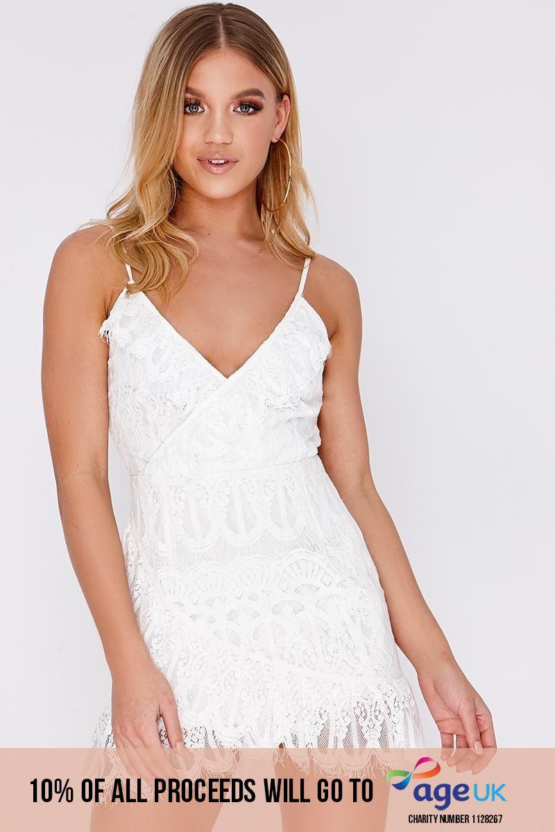 cream frill lace wrap dress