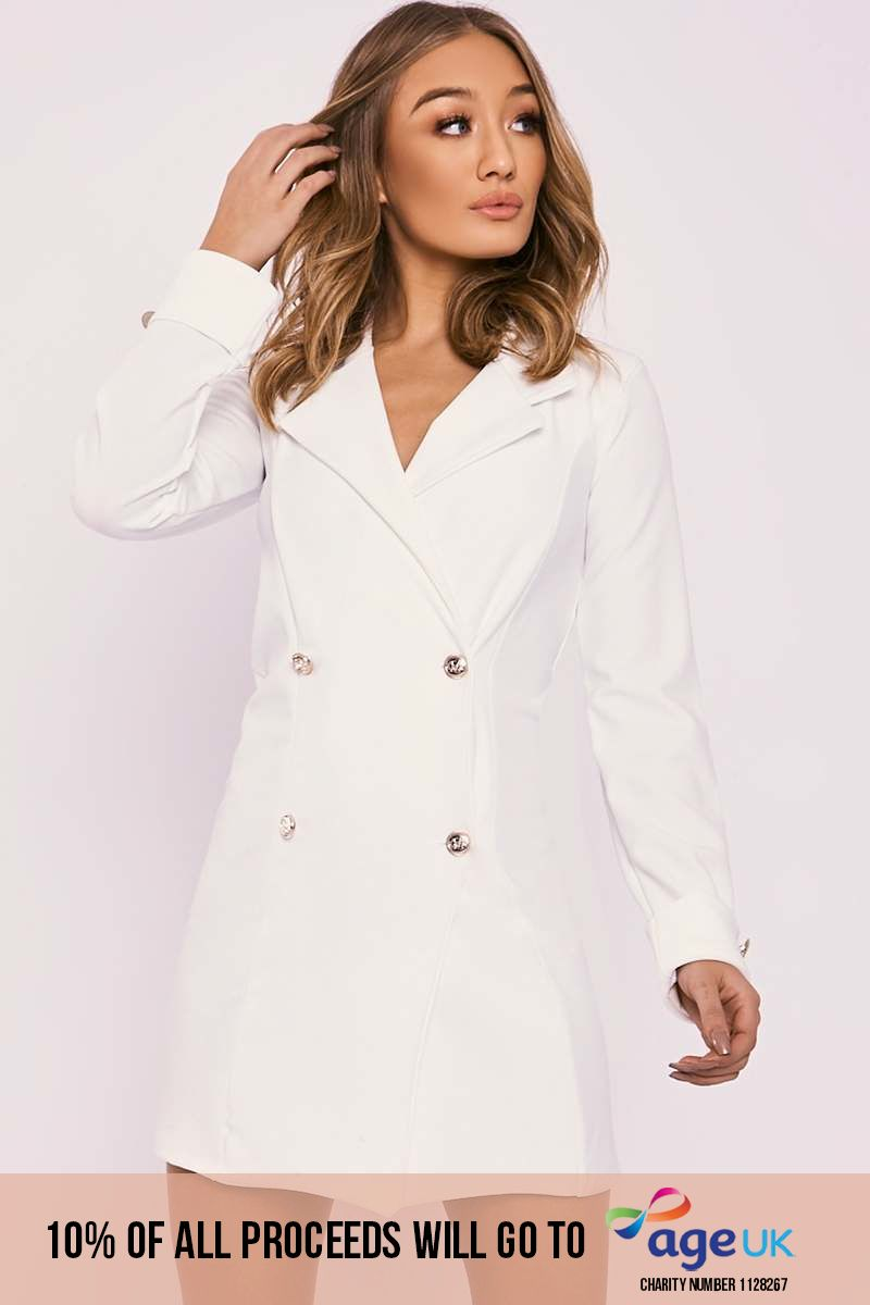 CARLEIGH CREAM GOLD BUTTON BLAZER DRESS