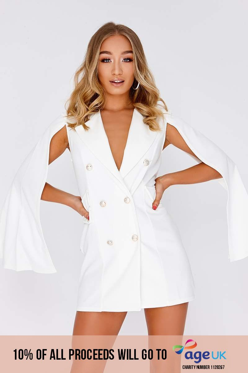 cream split sleeve blazer dress