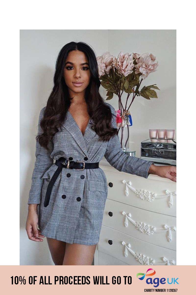 grey checked blazer dress