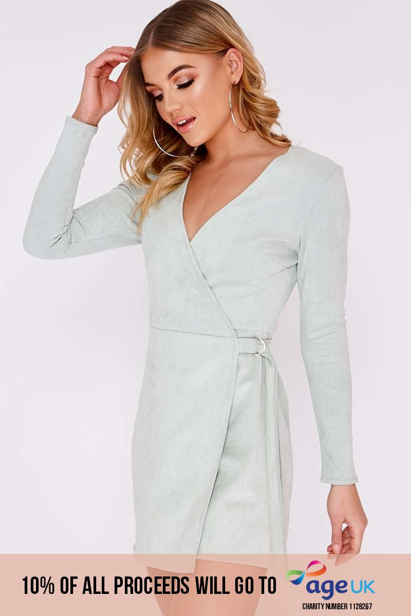mint faux suede d ring wrap dress