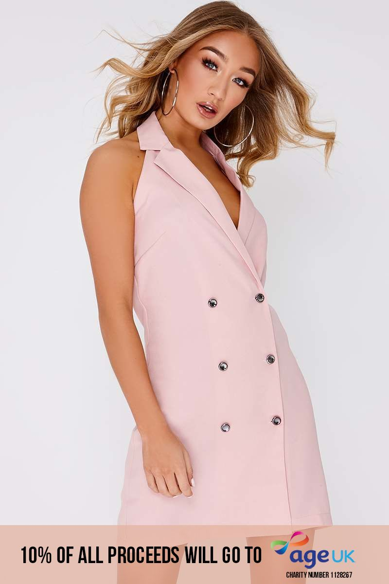 nude sleeveless double breasted blazer dress