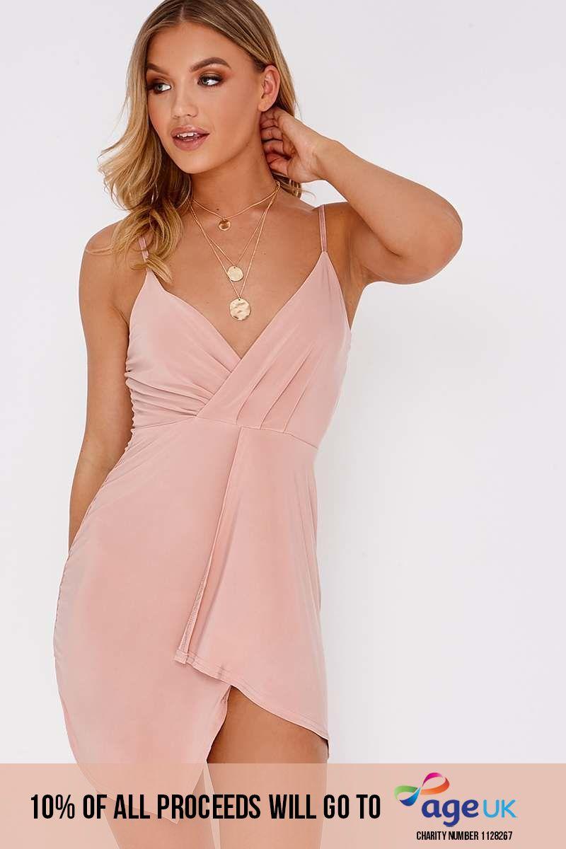 nude plunge wrap over mini dress