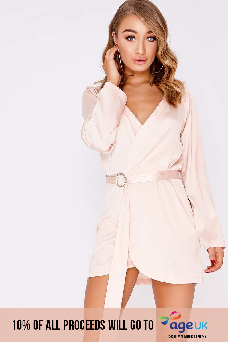 rose pink satin wrap ring dress