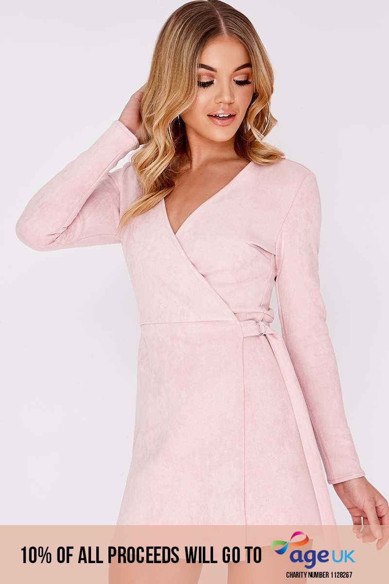 ALYA PINK FAUX SUEDE D RING WRAP DRESS