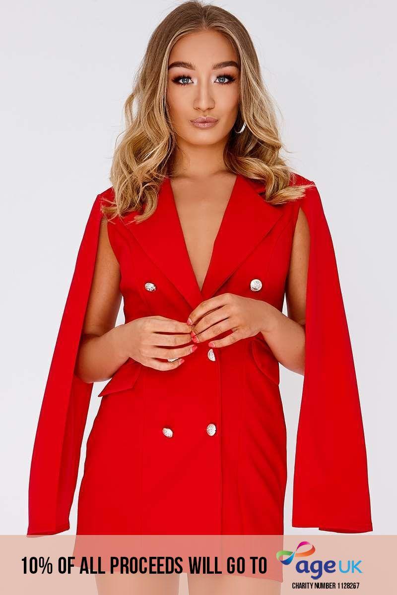 red split sleeve blazer dress