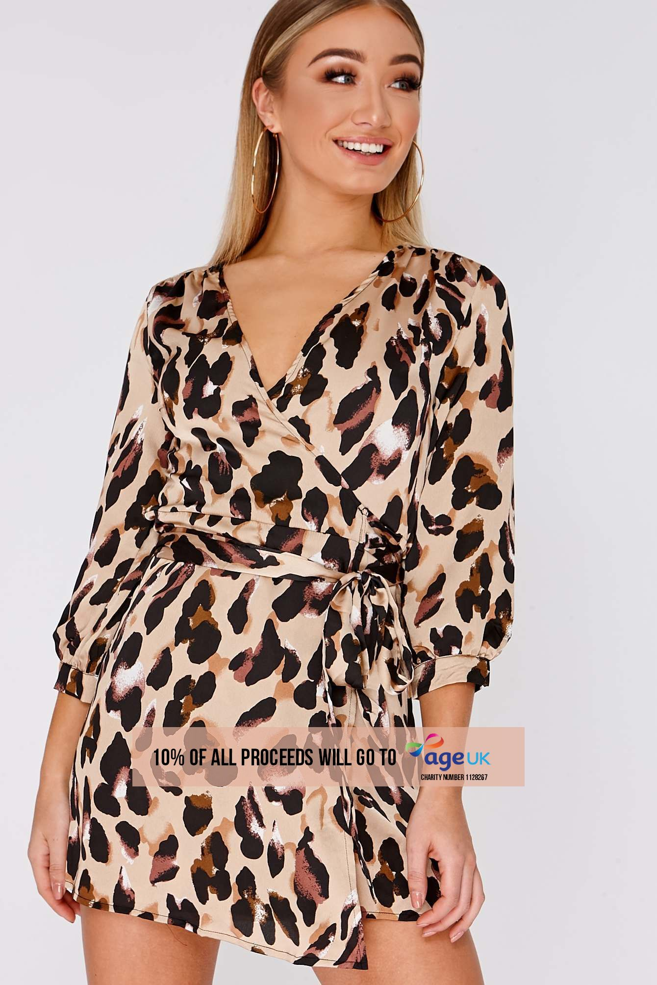 DANIE GOLD LEOPARD PRINT SATIN WRAP DRESS