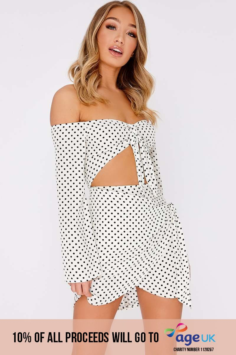 white polka dot bardot tie front mini dress