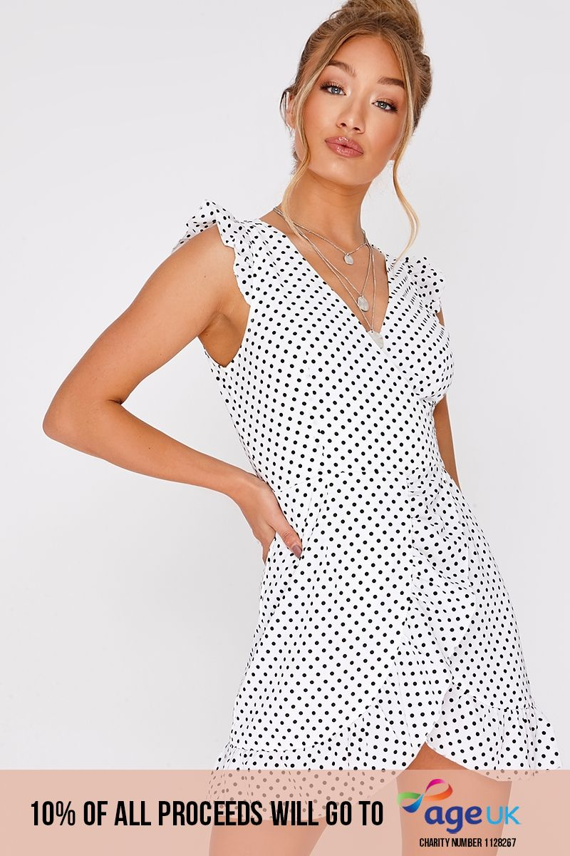 white polka dot frill wrap dress