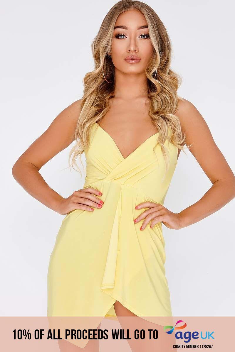 yellow plunge wrap over mini dress
