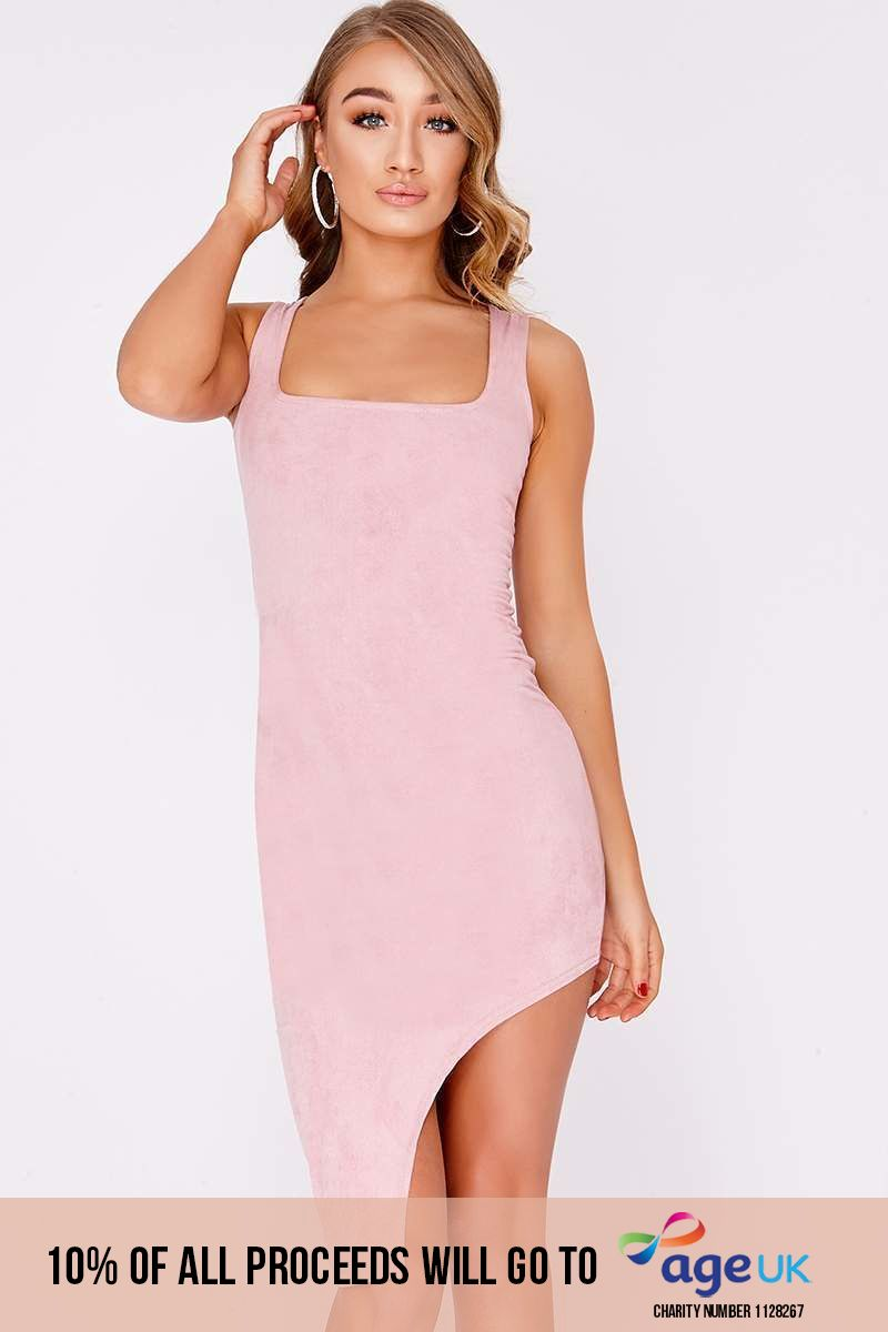 JEMM ROSE PINK FAUX SUEDE HIGH SPLIT MIDI DRESS