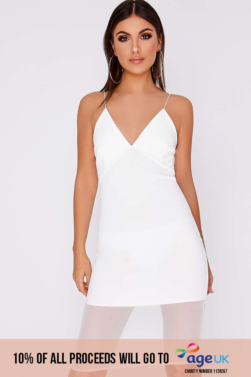 white mesh insert midi dress