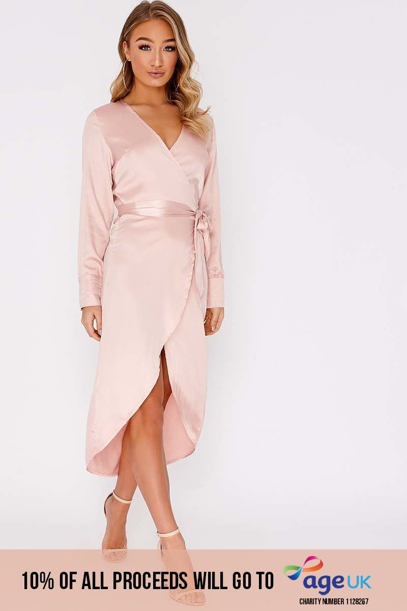 nude satin wrap midi dress