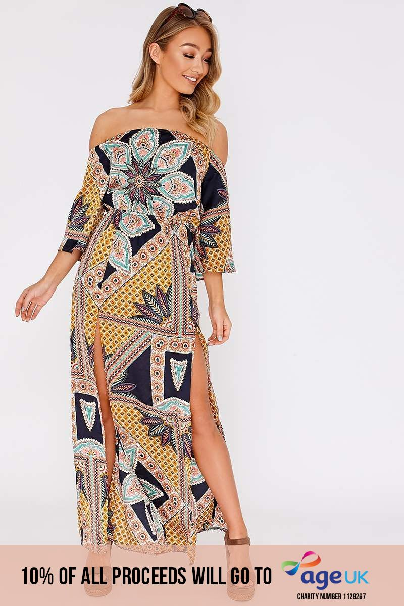 navy scarf print satin bardot maxi dress