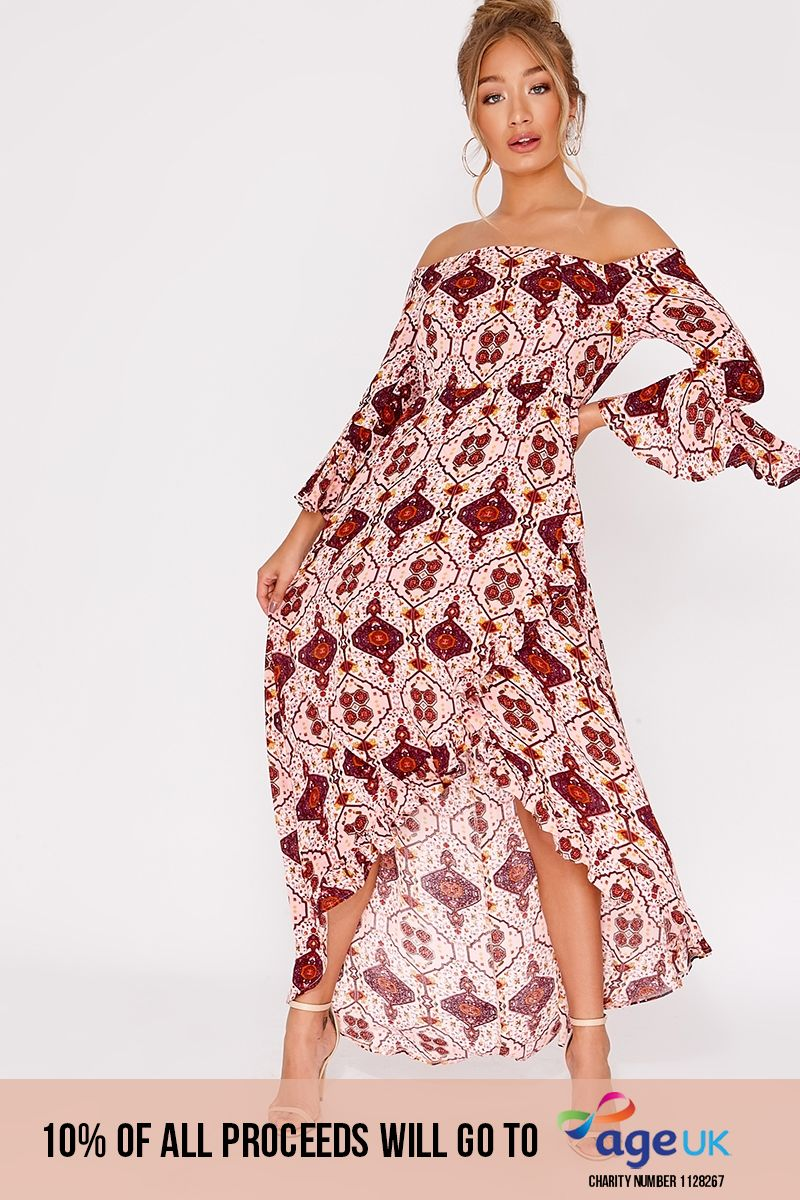 pink aztec frill bardot maxi dress