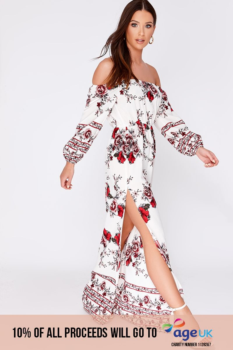white floral bardot maxi dress