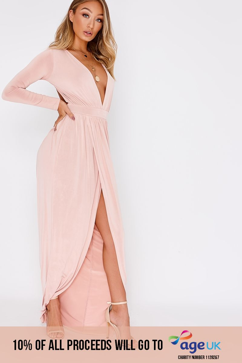 DREAM PINK PLUNGE LONG SLEEVE BACKLESS MAXI DRESS