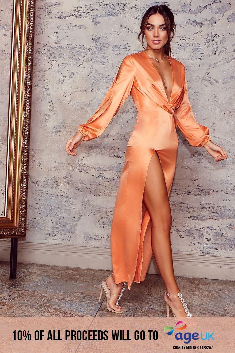 orange satin plunge split sleeve maxi dress