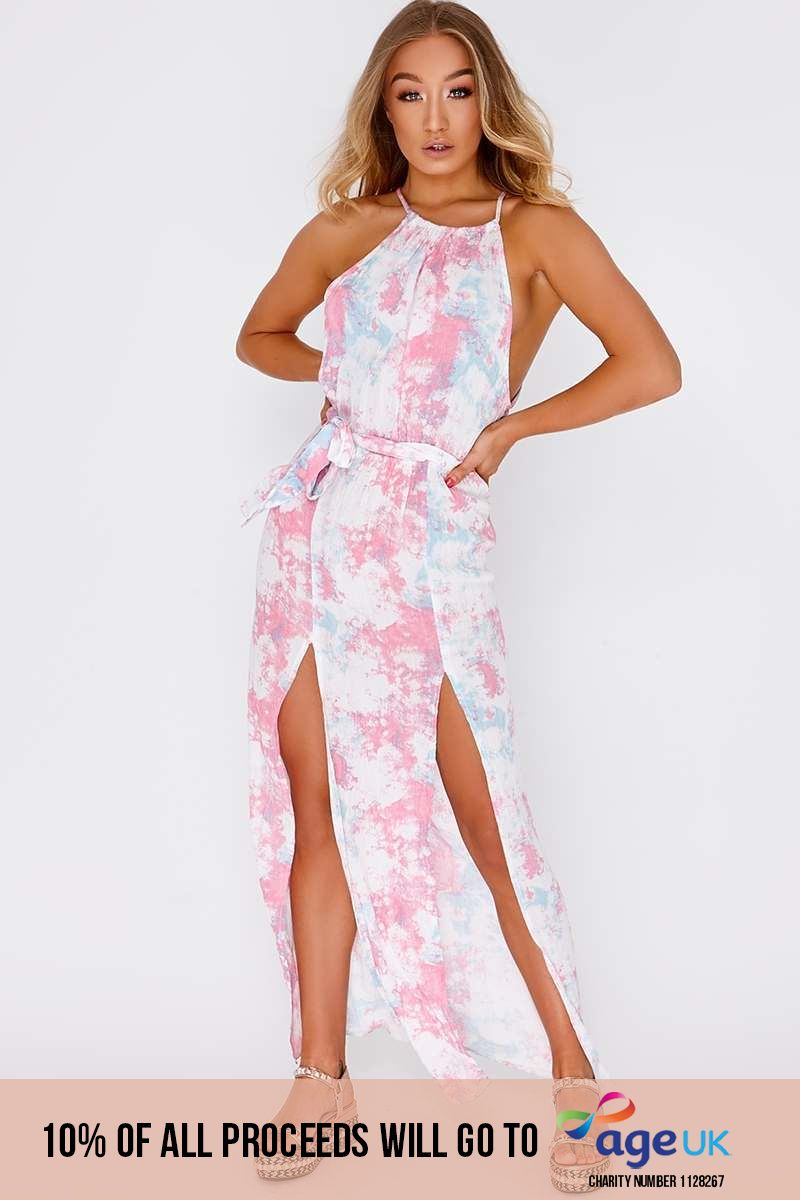 pink tie dye tie waist maxi dress