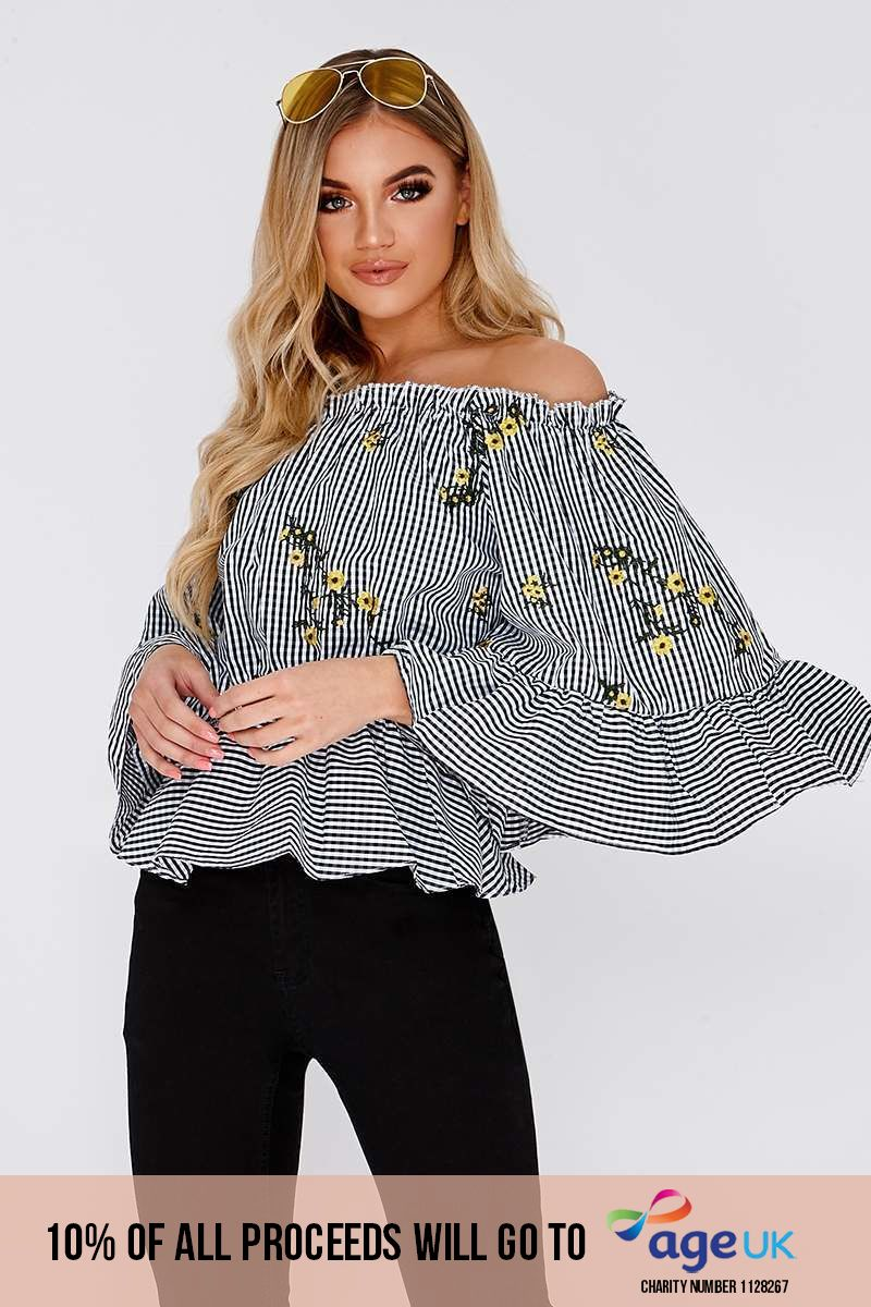 black gingham floral top