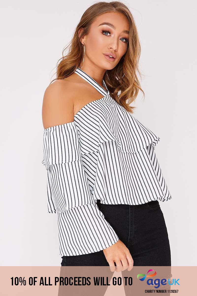 stripe halterneck frill layered top