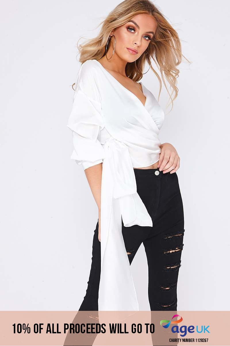 white ruched detail sleeve tie front top