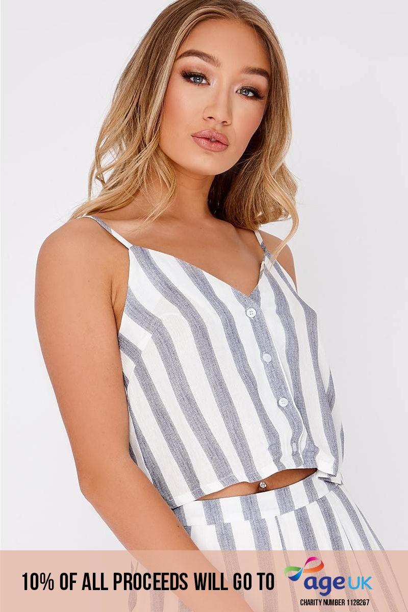 blue stripe button front cami top