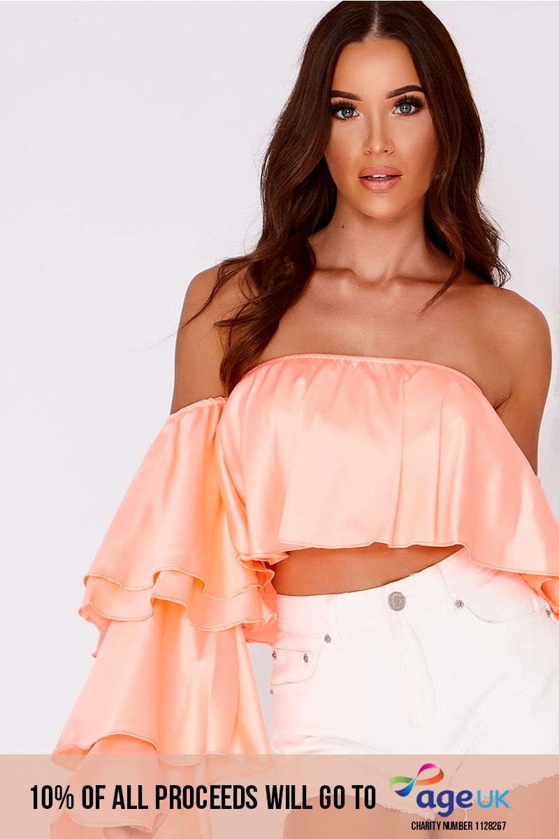 coral satin frill sleeve bardot top