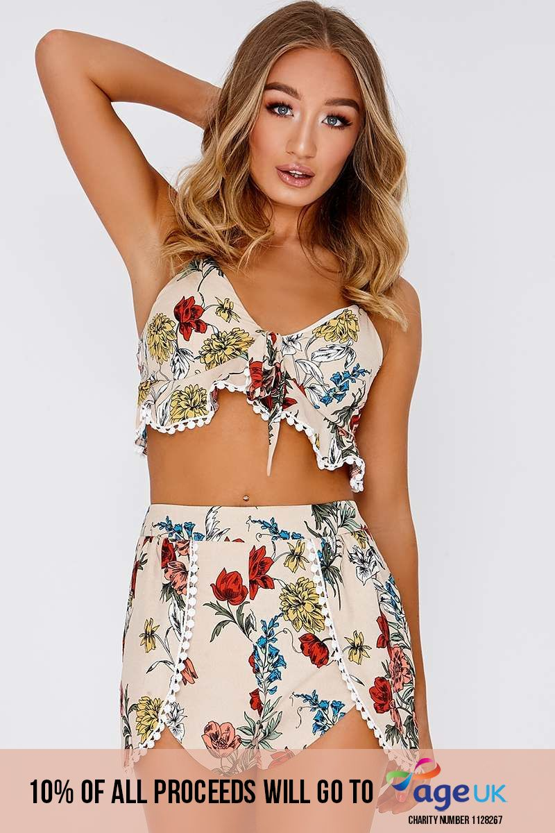 cream floral print knot front cami crop top