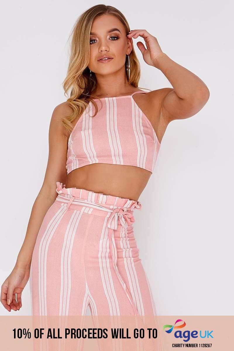 pink striped tie back crop top