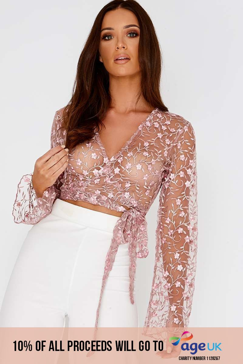 KAARINA PINK FLORAL EMBROIDERED MESH WRAP TOP