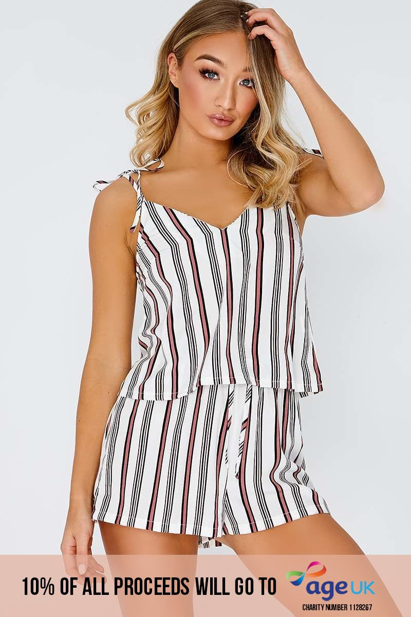 LARSA WHITE STRIPED TIE SHOULDER CAMI TOP