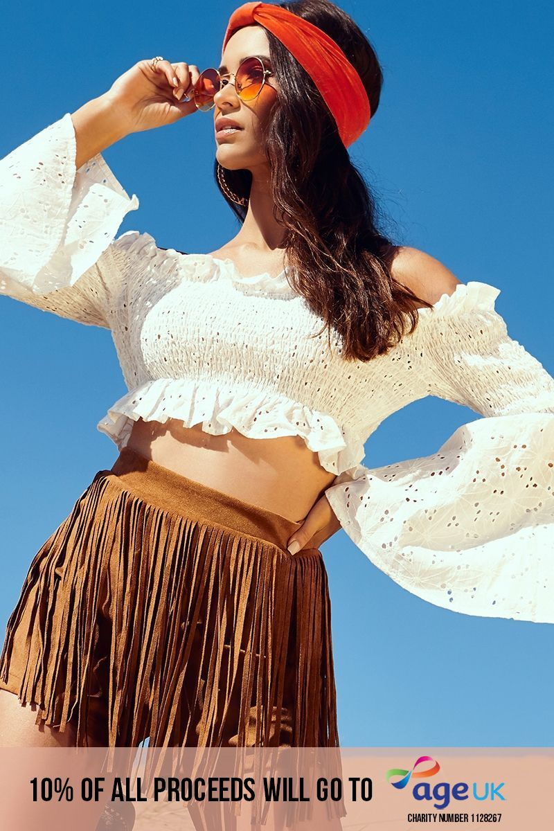 white broderie anglaise shirred flare sleeve crop top