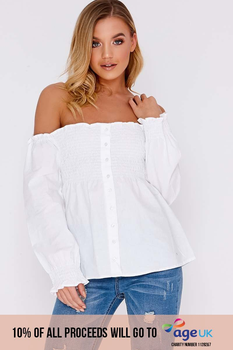 white shirred cotton button front top