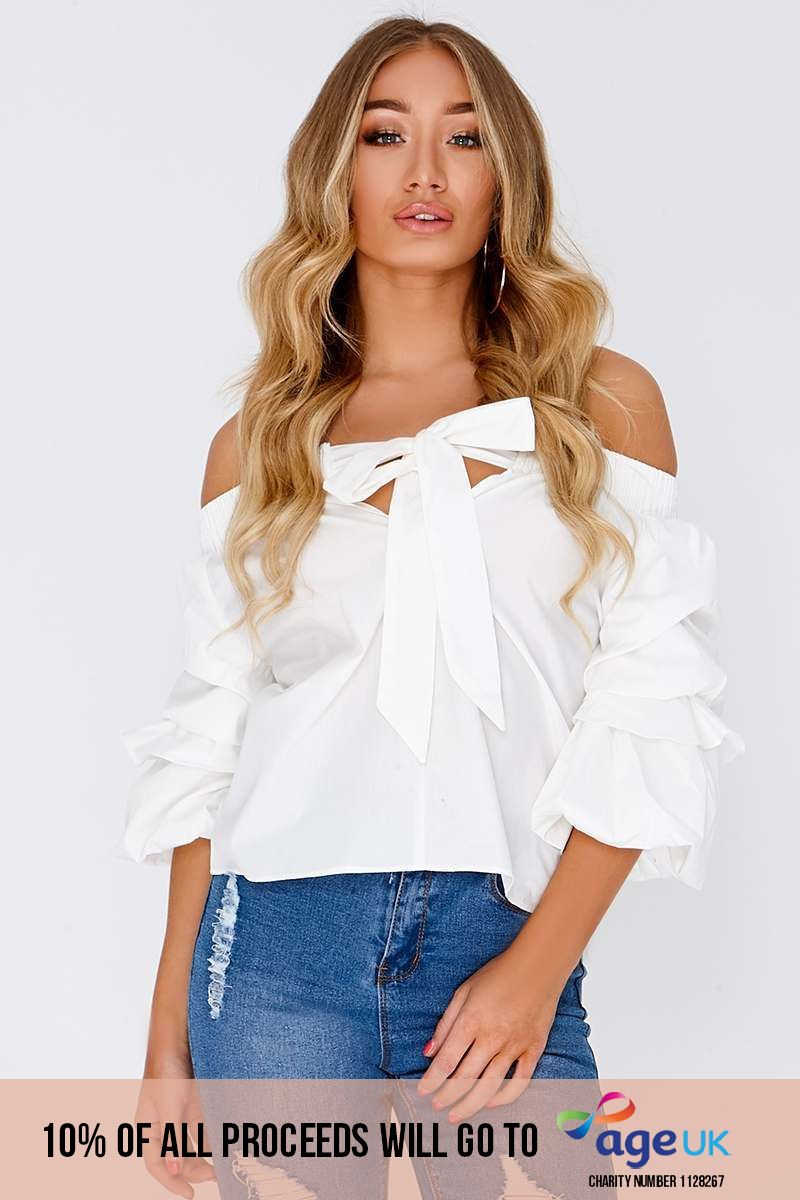 NIKI WHITE BARDOT RUCHED SLEEVE TOP