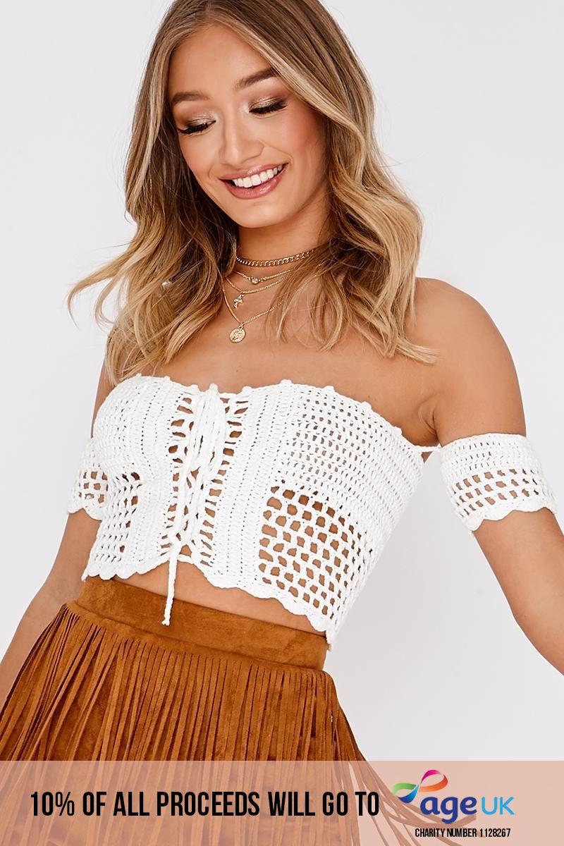white crochet bardot top