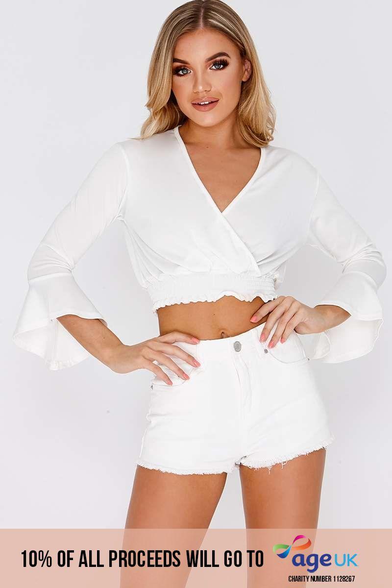 white wrap elasticated hem crop top