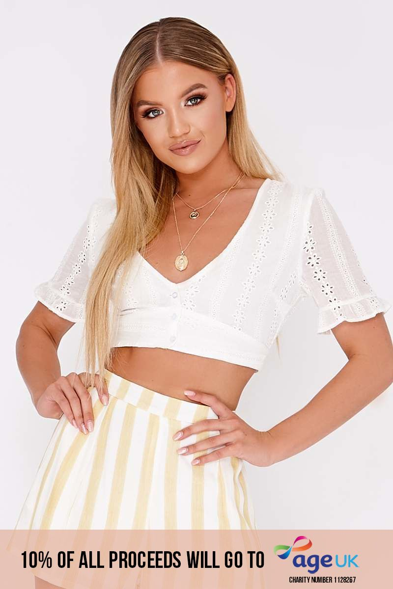 white broderie anglaise plunge neck crop top