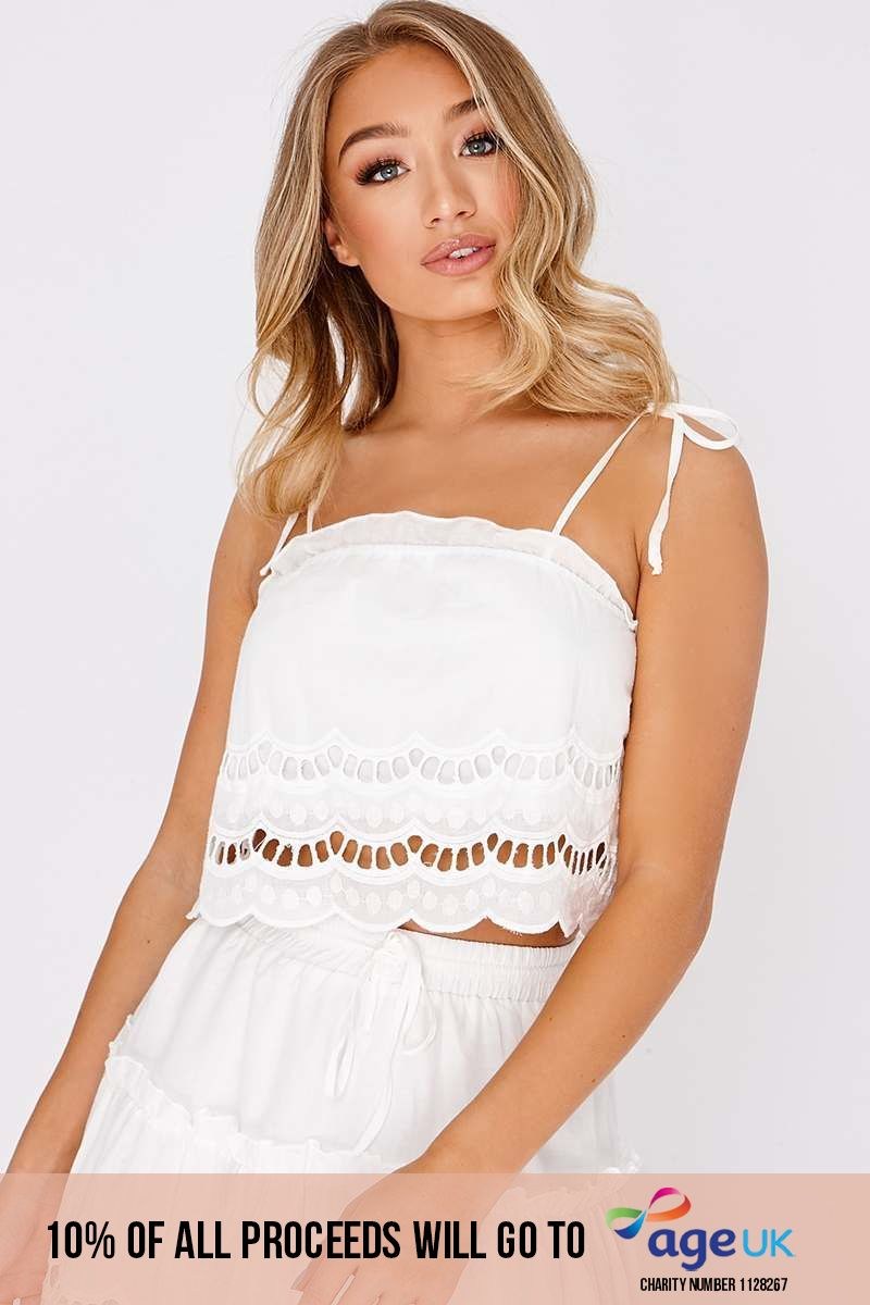 white broderie anglaise crop top