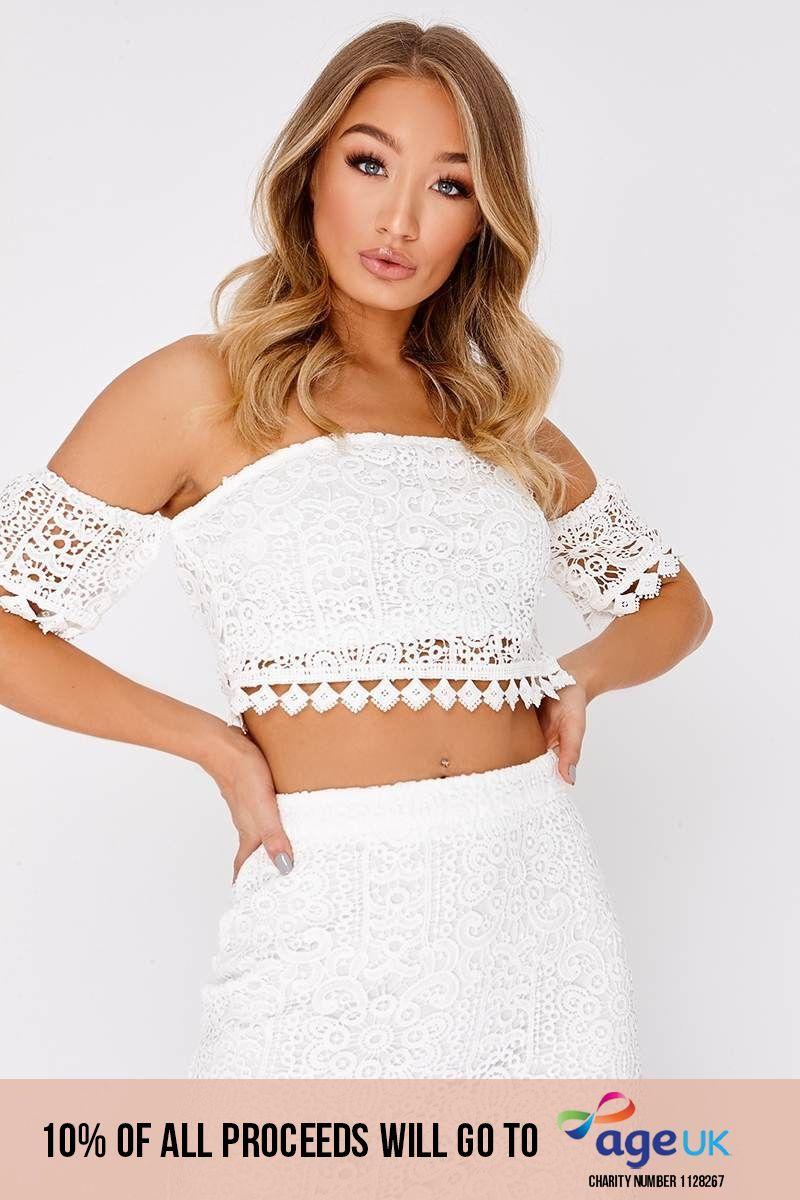 white lace bardot crop top
