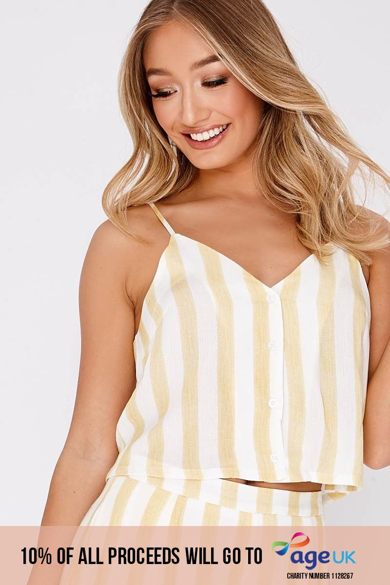 yellow stripe button front cami top