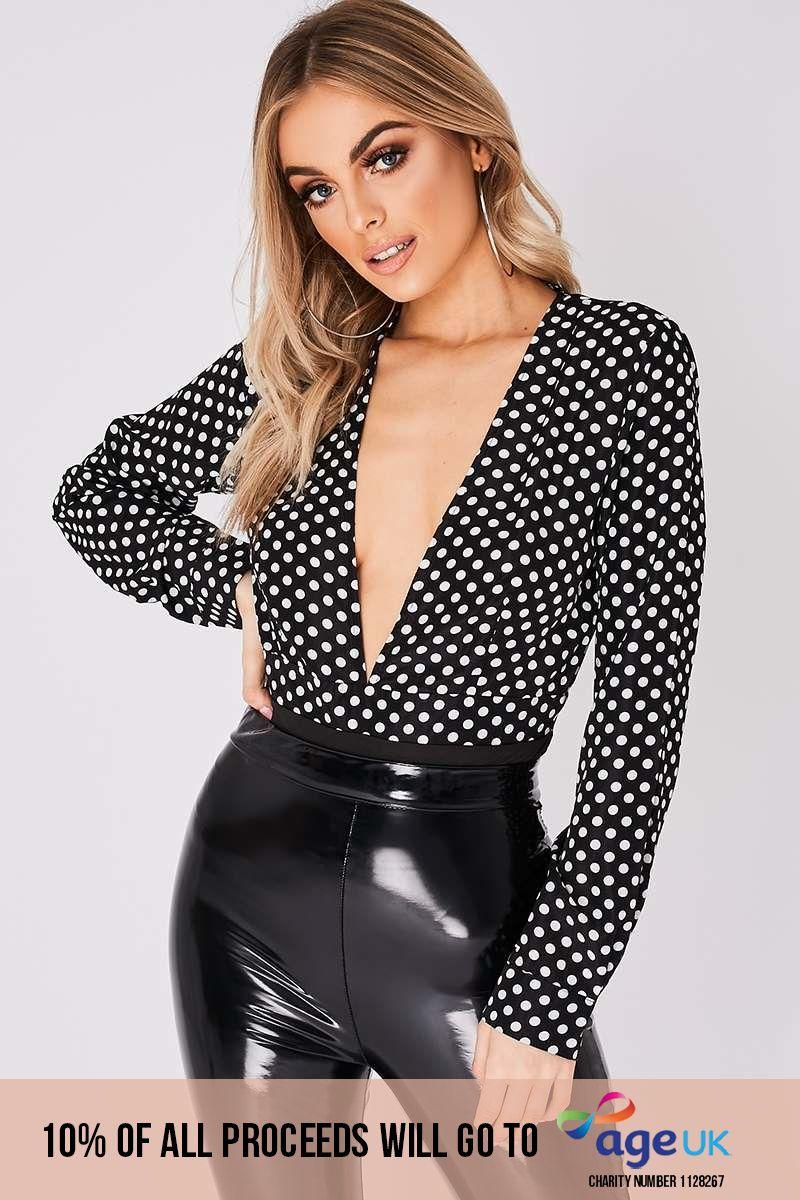 black polka dot deep plunge bodysuit