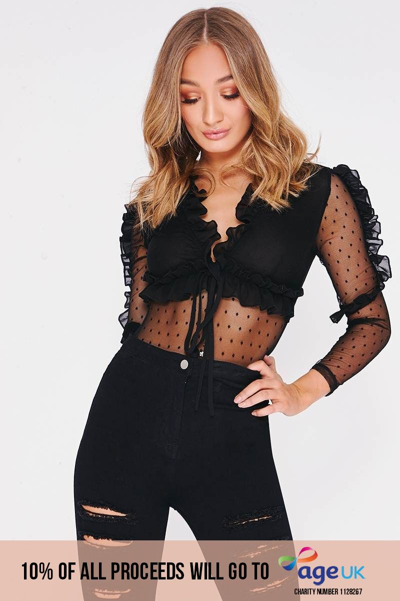 NYCOLE BLACK SHEER FRILL DETAIL BODYSUIT