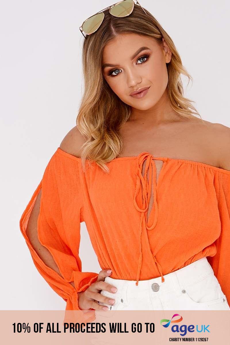 orange cheesecloth split sleeve bardot bodysuit