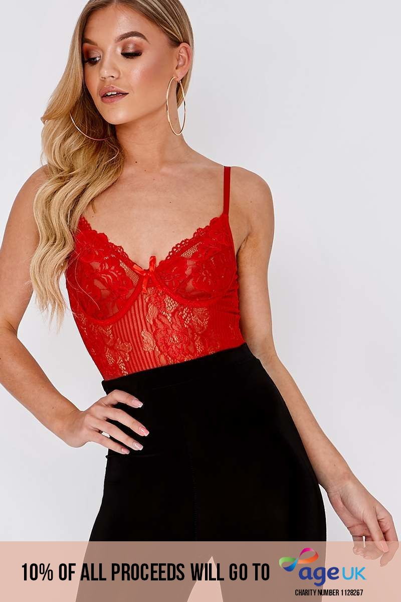 red lace high leg bodysuit