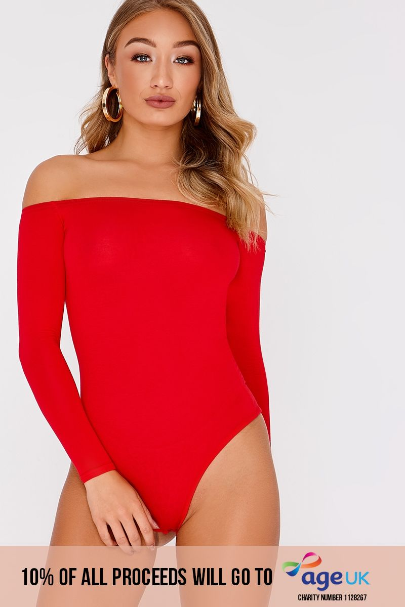 BASIC RED LONG SLEEVE BARDOT BODYSUIT