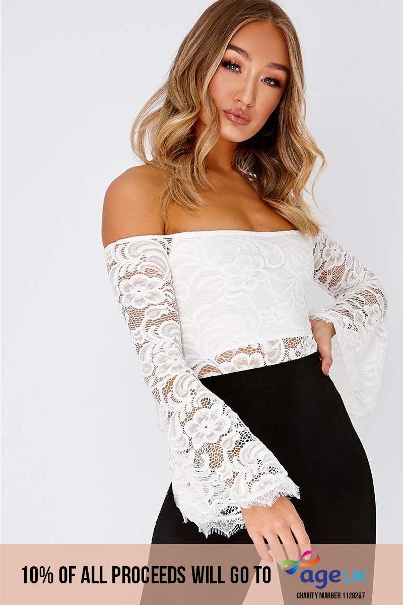 white lace bardot frill sleeve bodysuit