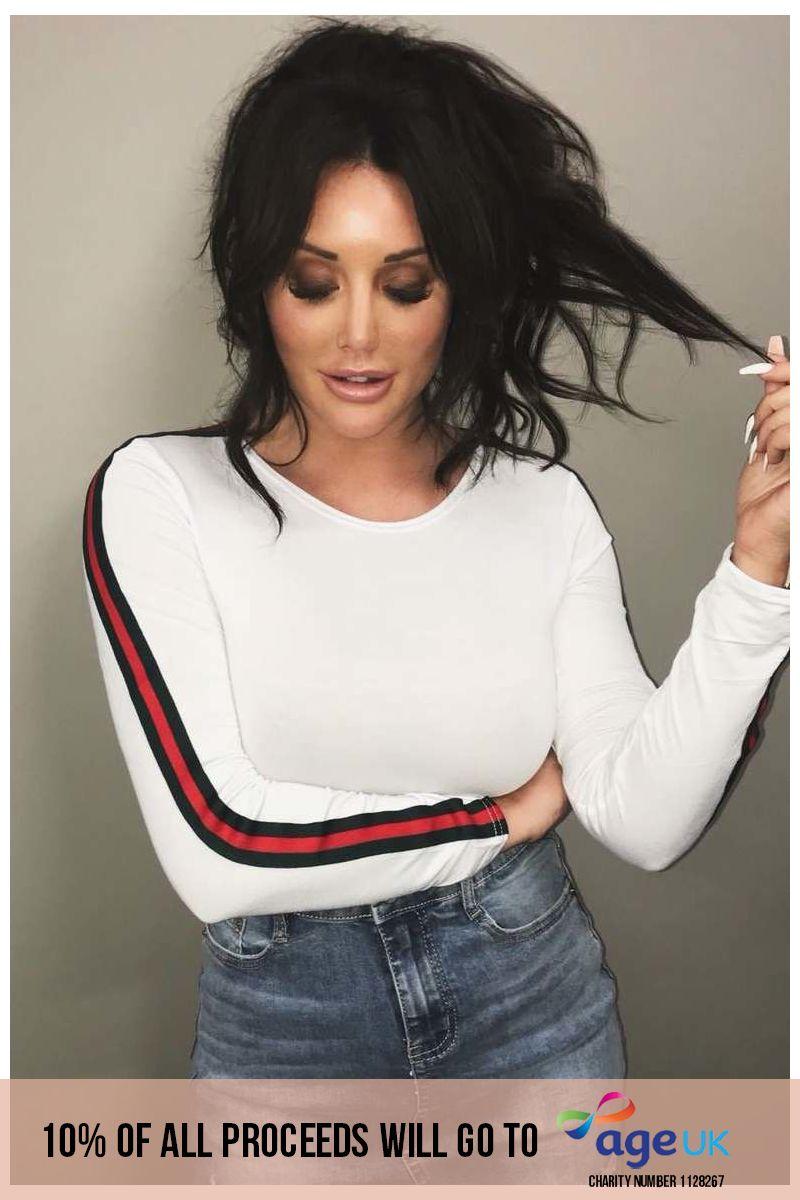 white stripe side bodysuit