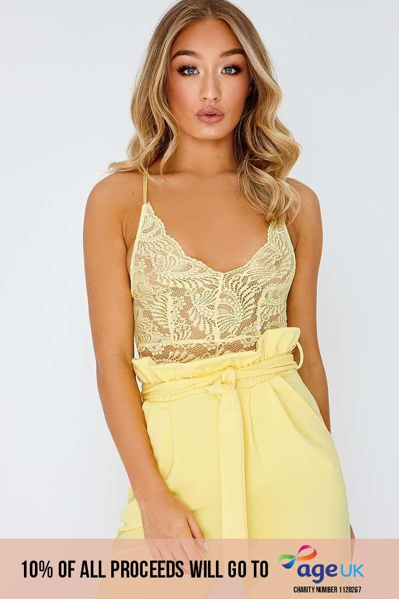 lemon lace bodysuit
