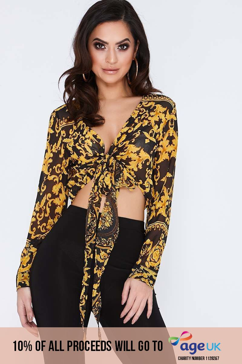 black chiffon chain print long sleeve tie front shirt
